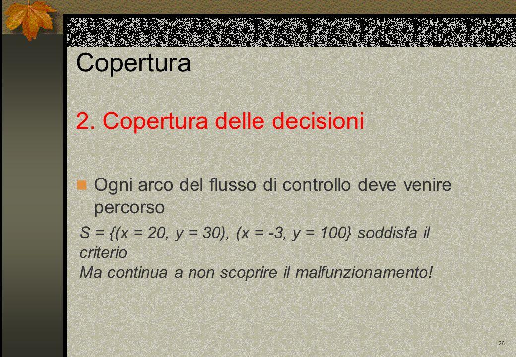25 2. Copertura delle decisioni Ogni arco del flusso di controllo deve venire percorso S = {(x = 20, y = 30), (x = -3, y = 100} soddisfa il criterio M