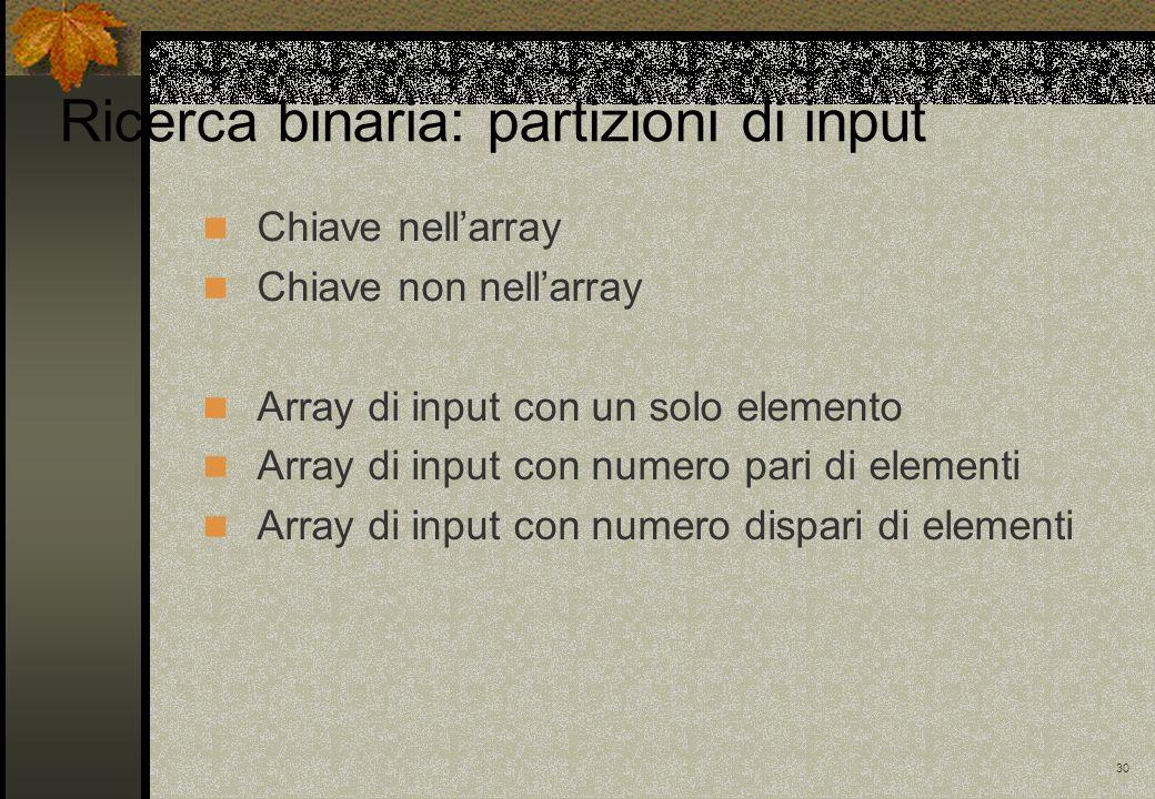 30 Chiave nellarray Chiave non nellarray Array di input con un solo elemento Array di input con numero pari di elementi Array di input con numero disp