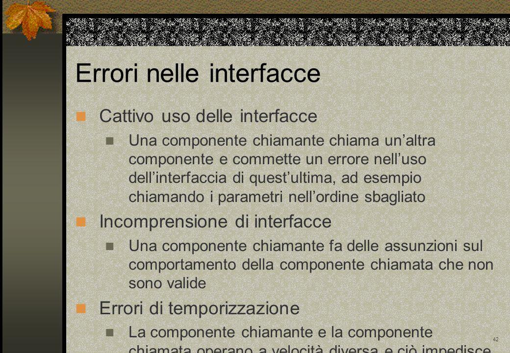 42 Errori nelle interfacce Cattivo uso delle interfacce Una componente chiamante chiama unaltra componente e commette un errore nelluso dellinterfacci