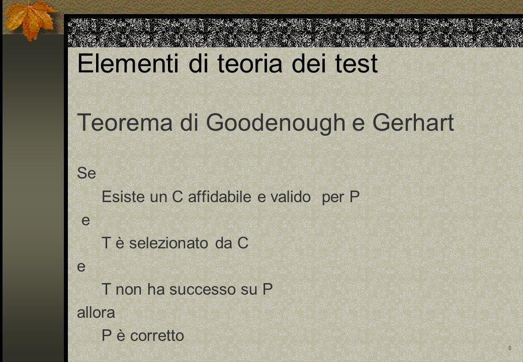 6 Elementi di teoria dei test Teorema di Goodenough e Gerhart Se Esiste un C affidabile e valido per P e T è selezionato da C e T non ha successo su P
