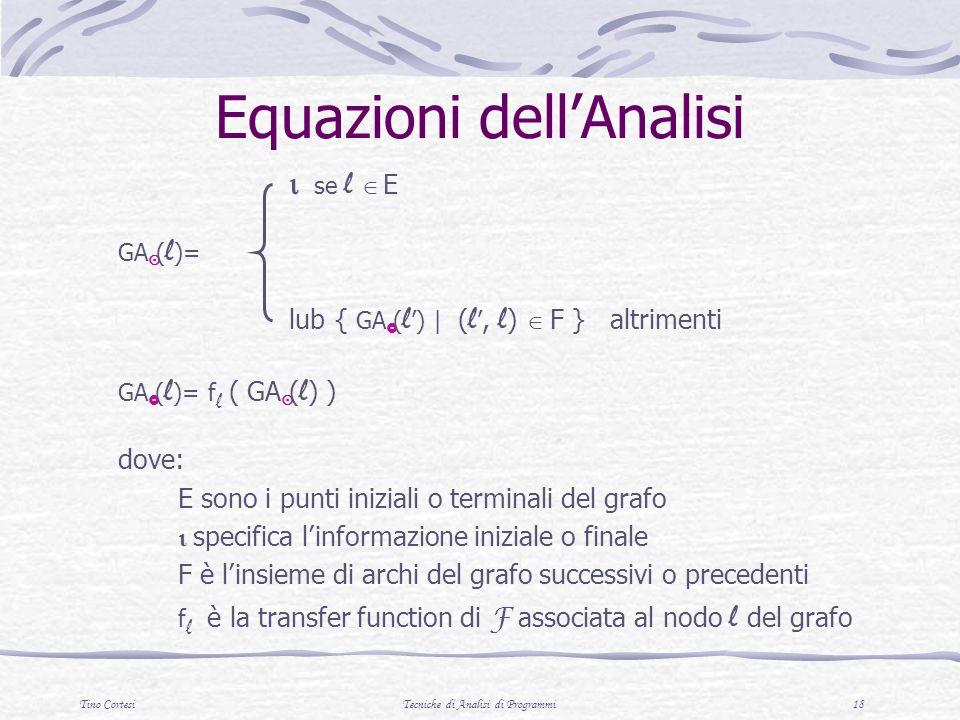 Tino CortesiTecniche di Analisi di Programmi 18 Equazioni dellAnalisi se l E GA ( l )= lub { GA ( l ) | ( l, l ) F } altrimenti GA ( l )= f l ( GA ( l ) ) dove: E sono i punti iniziali o terminali del grafo specifica linformazione iniziale o finale F è linsieme di archi del grafo successivi o precedenti f l è la transfer function di F associata al nodo l del grafo