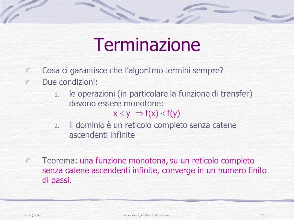 Tino CortesiTecniche di Analisi di Programmi 21 Terminazione Cosa ci garantisce che lalgoritmo termini sempre.