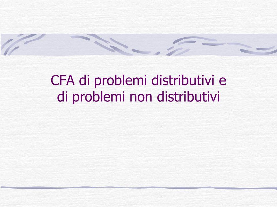 CFA di problemi distributivi e di problemi non distributivi