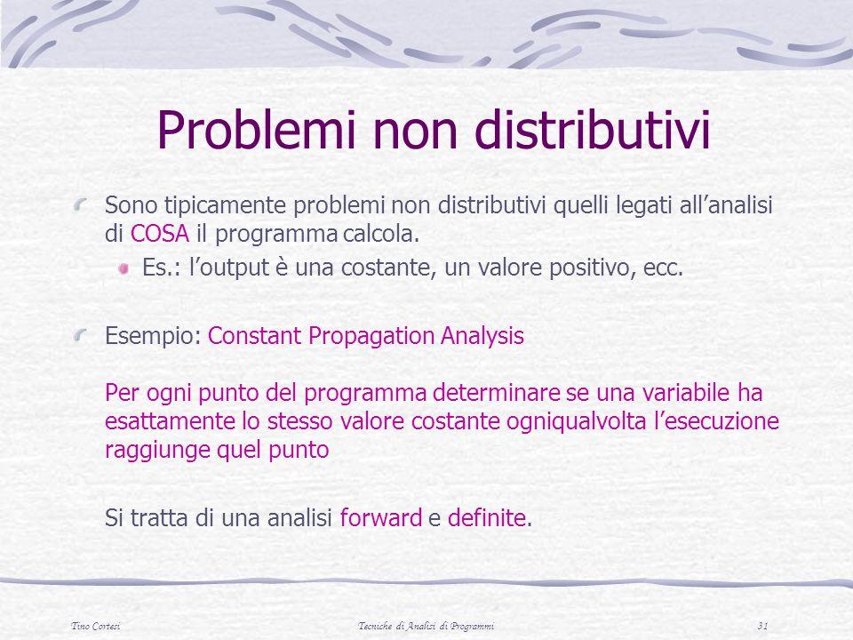Tino CortesiTecniche di Analisi di Programmi 31 Problemi non distributivi Sono tipicamente problemi non distributivi quelli legati allanalisi di COSA il programma calcola.