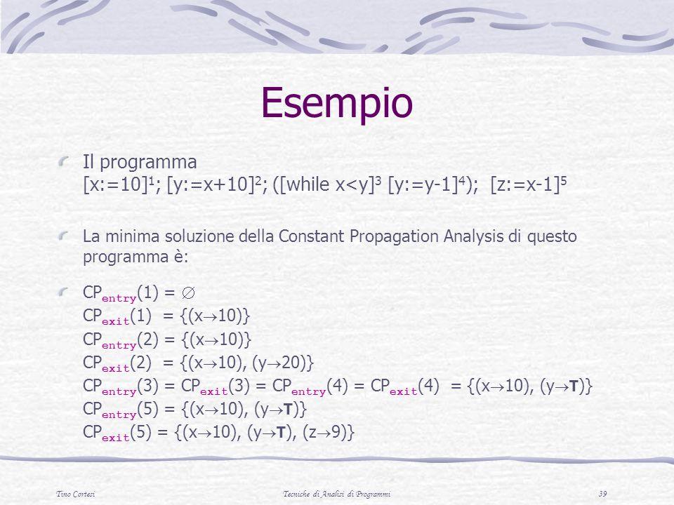 Tino CortesiTecniche di Analisi di Programmi 39 Esempio Il programma [x:=10] 1 ; [y:=x+10] 2 ; ([while x<y] 3 [y:=y-1] 4 ); [z:=x-1] 5 La minima soluzione della Constant Propagation Analysis di questo programma è: CP entry (1) = CP exit (1) = {(x 10)} CP entry (2) = {(x 10)} CP exit (2) = {(x 10), (y 20)} CP entry (3) = CP exit (3) = CP entry (4) = CP exit (4) = {(x 10), (y T )} CP entry (5) = {(x 10), (y T )} CP exit (5) = {(x 10), (y T ), (z 9)}