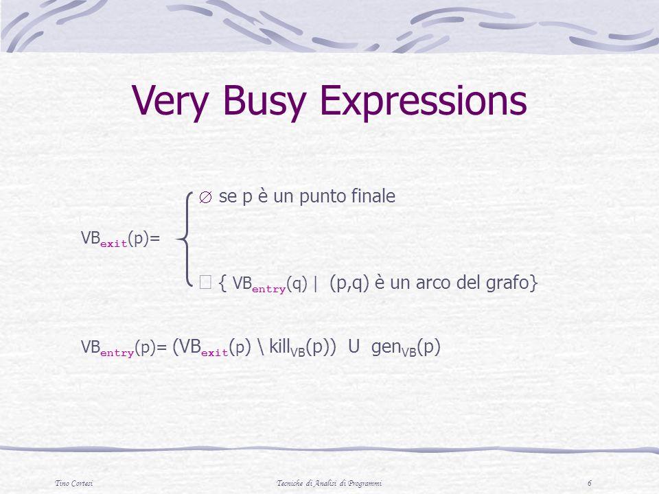 Tino CortesiTecniche di Analisi di Programmi 37 Analizzare le espressioni Per specificare le funzioni di transfer è necessaria la seguente funzione per analizzare le espressioni algebriche presenti nel programma a partire da uno stato in (Var Z T ) A : ( AExp (Var Z T ) ) Z T A (x, ) = se = (x) altrimenti A (n, ) = se = n altrimenti A (a 1 op a 2, ) = A (a 1, ) op A (a 2, ) ( dove op è linterpretazione di op su Z T : es.