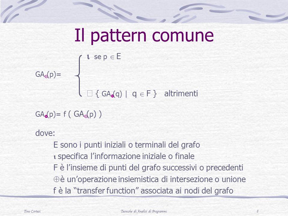 Tino CortesiTecniche di Analisi di Programmi 8 Il pattern comune se p E GA (p)= { GA (q) | q F } altrimenti GA (p)= f ( GA ( p ) ) dove: E sono i punti iniziali o terminali del grafo specifica linformazione iniziale o finale F è linsieme di punti del grafo successivi o precedenti è unoperazione insiemistica di intersezione o unione f è la transfer function associata ai nodi del grafo