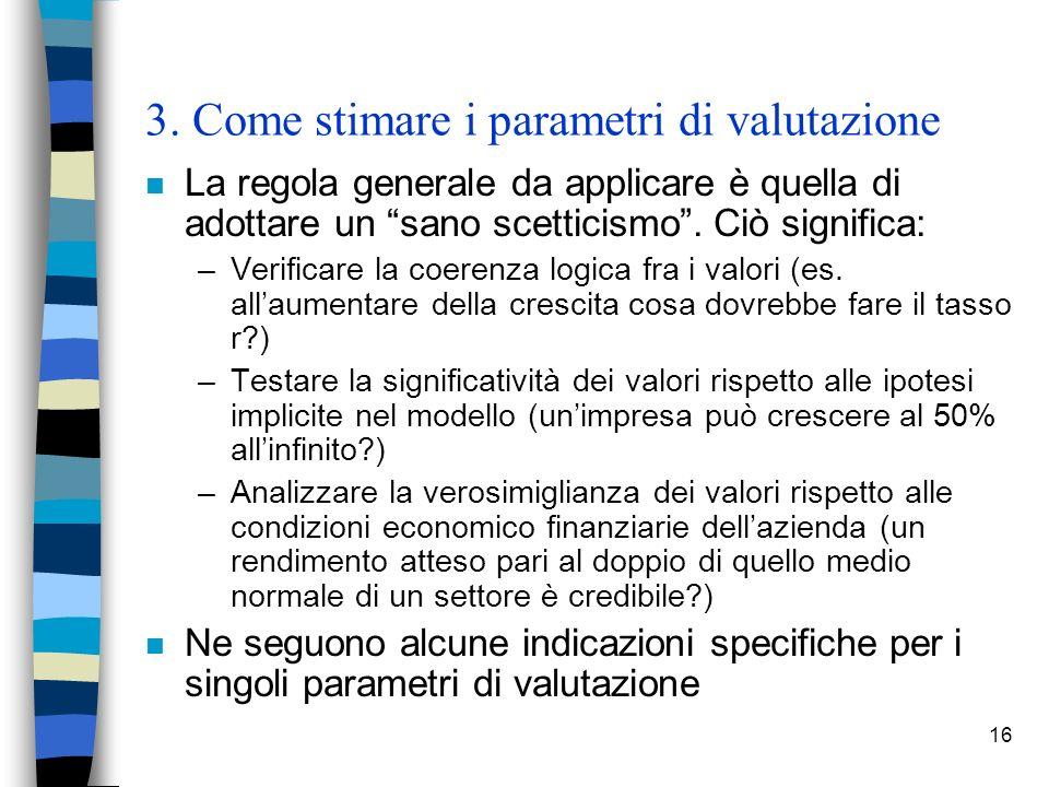 16 3. Come stimare i parametri di valutazione n La regola generale da applicare è quella di adottare un sano scetticismo. Ciò significa: –Verificare l