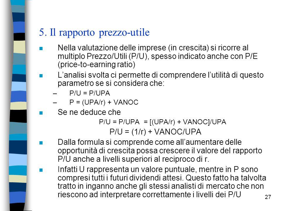 27 5. Il rapporto prezzo-utile n Nella valutazione delle imprese (in crescita) si ricorre al multiplo Prezzo/Utili (P/U), spesso indicato anche con P/