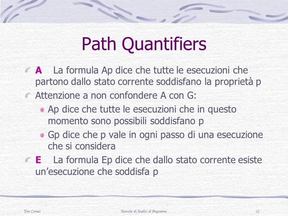 Tino CortesiTecniche di Analisi di Programmi 12 Path Quantifiers ALa formula Ap dice che tutte le esecuzioni che partono dallo stato corrente soddisfa