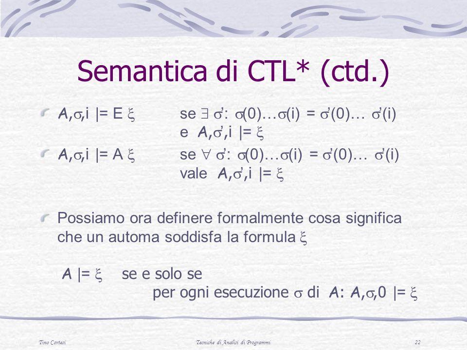 Tino CortesiTecniche di Analisi di Programmi 22 Semantica di CTL* (ctd.) A,,i |= E se : (0)… (i) = (0)… (i) e A,,i |= A,,i |= A se : (0)… (i) = (0)… (