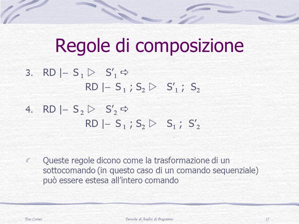 Tino CortesiTecniche di Analisi di Programmi 15 Regole di composizione 3. RD | S S RD | S ; S S ; S 4. RD | S S RD | S ; S S ; S Queste regole dicono
