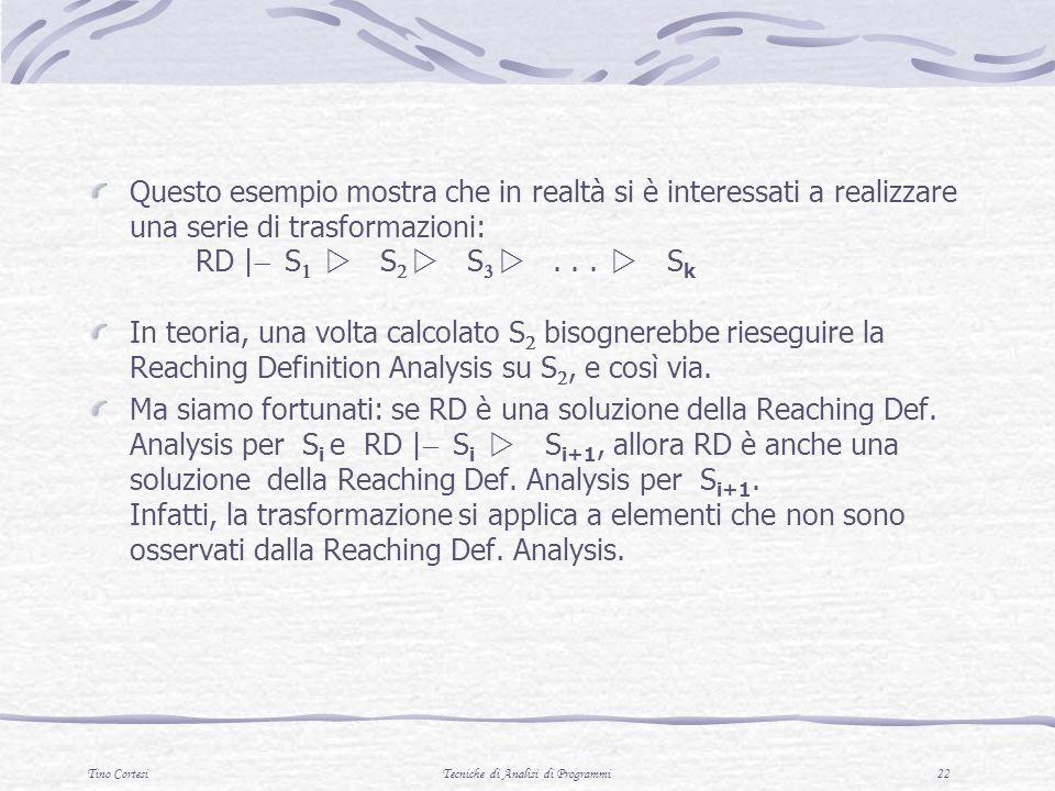Tino CortesiTecniche di Analisi di Programmi 22 Questo esempio mostra che in realtà si è interessati a realizzare una serie di trasformazioni: RD | S