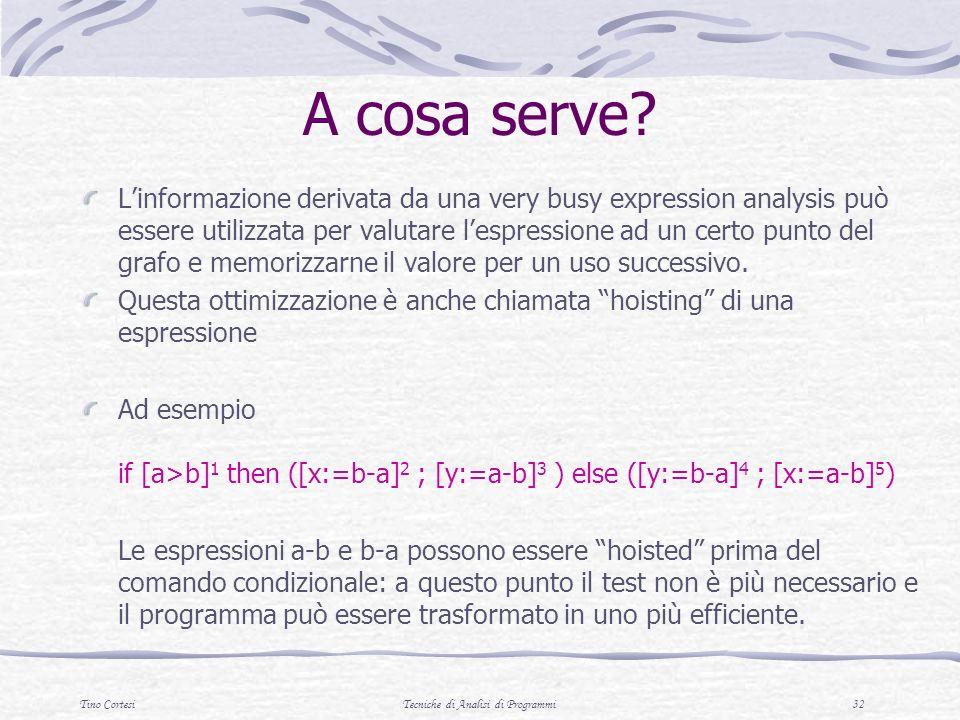 Tino CortesiTecniche di Analisi di Programmi 32 A cosa serve? Linformazione derivata da una very busy expression analysis può essere utilizzata per va