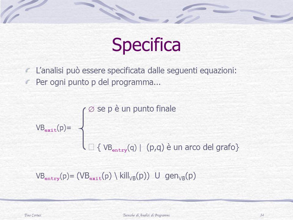Tino CortesiTecniche di Analisi di Programmi 34 Specifica Lanalisi può essere specificata dalle seguenti equazioni: Per ogni punto p del programma...