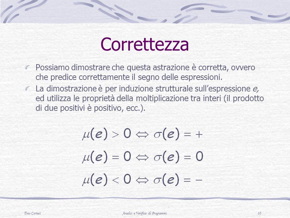 Tino CortesiAnalisi e Verifica di Programmi 10 Correttezza Possiamo dimostrare che questa astrazione è corretta, ovvero che predice correttamente il s