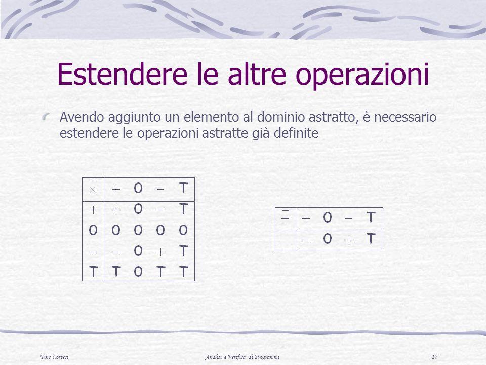Tino CortesiAnalisi e Verifica di Programmi 17 Estendere le altre operazioni Avendo aggiunto un elemento al dominio astratto, è necessario estendere l