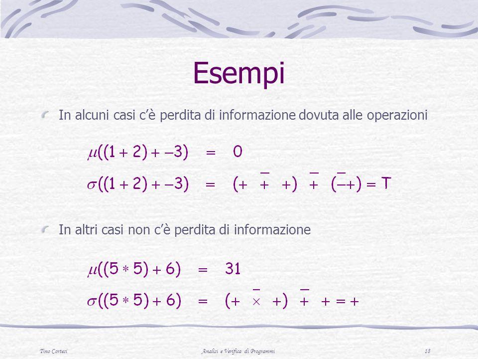 Tino CortesiAnalisi e Verifica di Programmi 18 Esempi In alcuni casi cè perdita di informazione dovuta alle operazioni In altri casi non cè perdita di