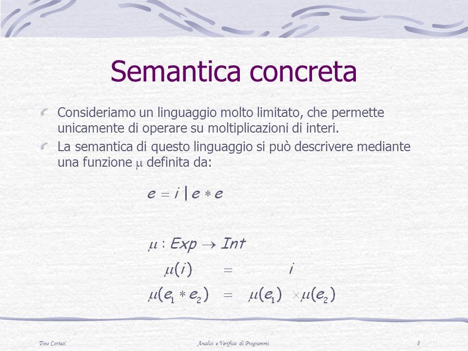Tino CortesiAnalisi e Verifica di Programmi 8 Semantica concreta Consideriamo un linguaggio molto limitato, che permette unicamente di operare su molt