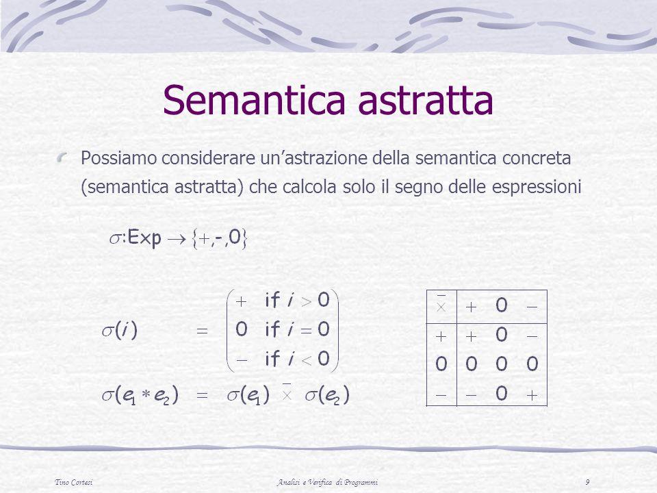 Tino CortesiAnalisi e Verifica di Programmi 9 Semantica astratta Possiamo considerare unastrazione della semantica concreta (semantica astratta) che c