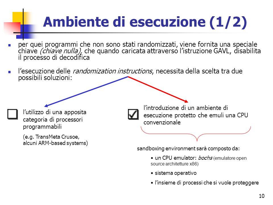 10 per quei programmi che non sono stati randomizzati, viene fornita una speciale chiave (chiave nulla), che quando caricata attraverso listruzione GA