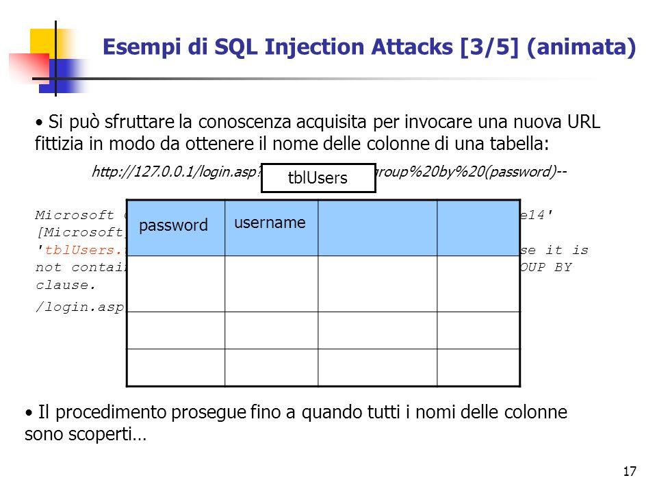 17 Esempi di SQL Injection Attacks [3/5] (animata) Si può sfruttare la conoscenza acquisita per invocare una nuova URL fittizia in modo da ottenere il