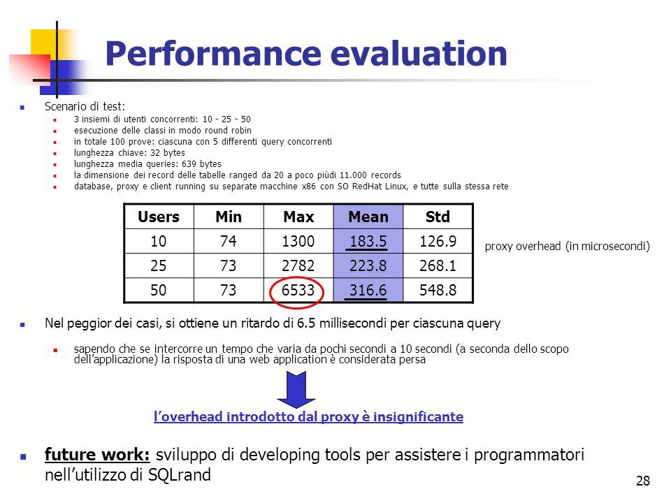 28 Performance evaluation Scenario di test: 3 insiemi di utenti concorrenti: 10 - 25 - 50 esecuzione delle classi in modo round robin in totale 100 pr
