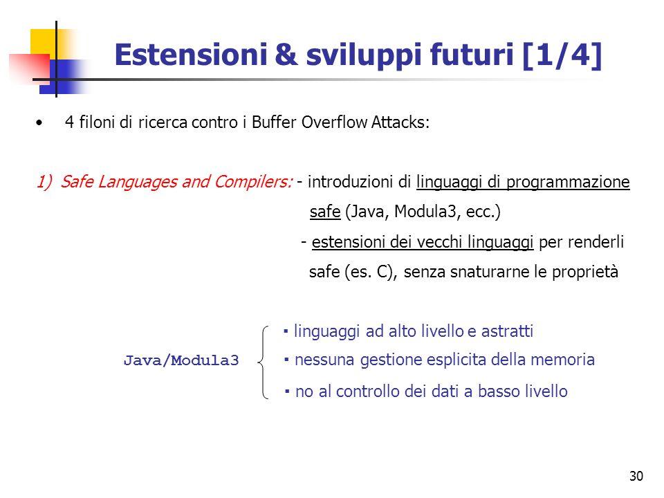 30 Estensioni & sviluppi futuri [1/4] 4 filoni di ricerca contro i Buffer Overflow Attacks: 1)Safe Languages and Compilers: - introduzioni di linguagg