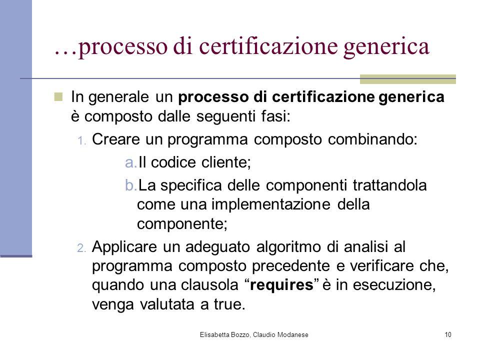 Elisabetta Bozzo, Claudio Modanese10 …processo di certificazione generica In generale un processo di certificazione generica è composto dalle seguenti