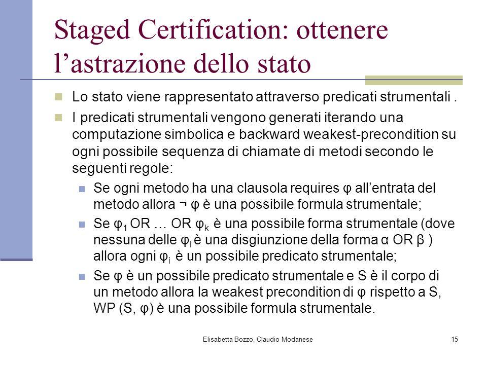 Elisabetta Bozzo, Claudio Modanese15 Staged Certification: ottenere lastrazione dello stato Lo stato viene rappresentato attraverso predicati strument