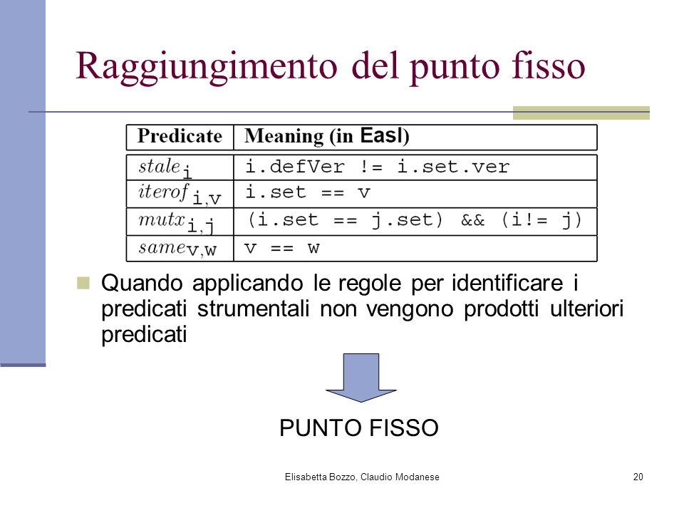 Elisabetta Bozzo, Claudio Modanese20 Raggiungimento del punto fisso Quando applicando le regole per identificare i predicati strumentali non vengono p