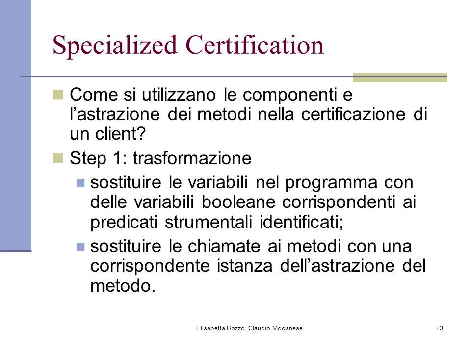 Elisabetta Bozzo, Claudio Modanese23 Specialized Certification Come si utilizzano le componenti e lastrazione dei metodi nella certificazione di un cl