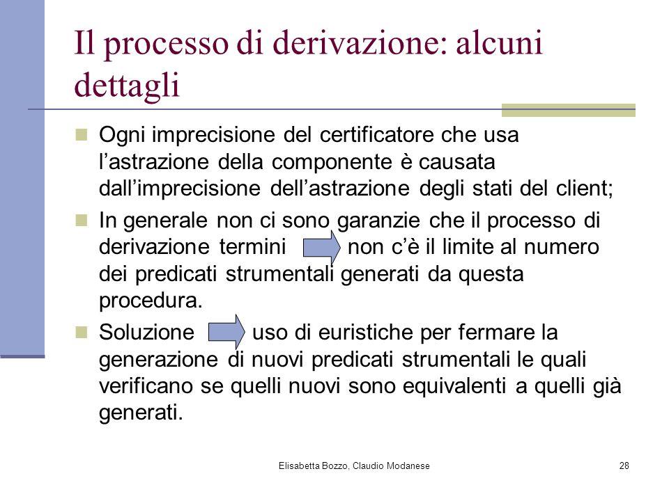 Elisabetta Bozzo, Claudio Modanese28 Il processo di derivazione: alcuni dettagli Ogni imprecisione del certificatore che usa lastrazione della compone