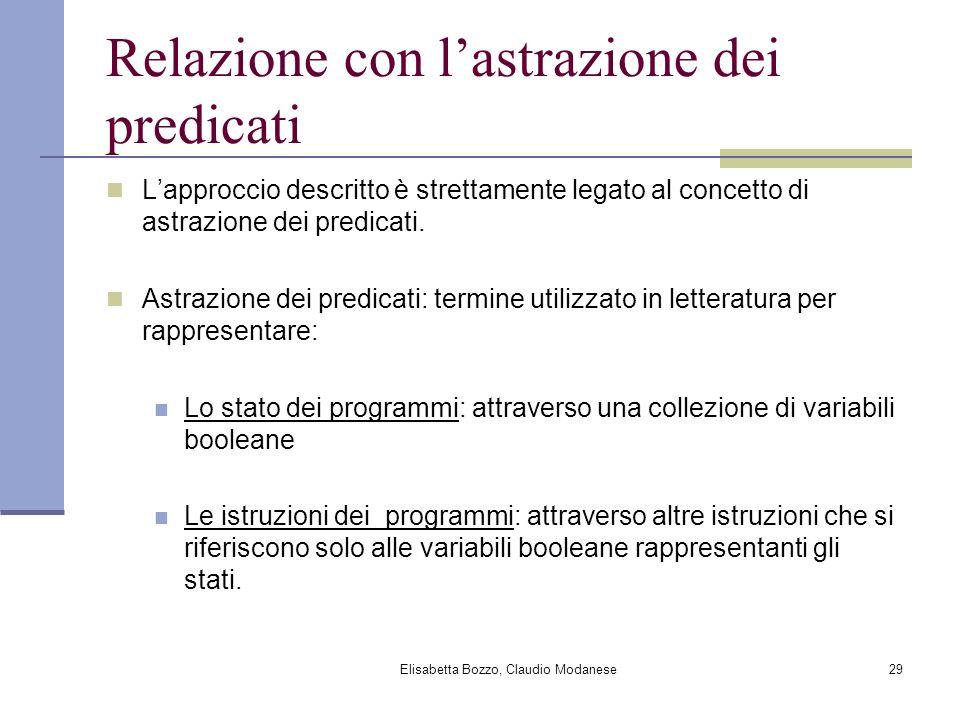 Elisabetta Bozzo, Claudio Modanese29 Relazione con lastrazione dei predicati Lapproccio descritto è strettamente legato al concetto di astrazione dei predicati.