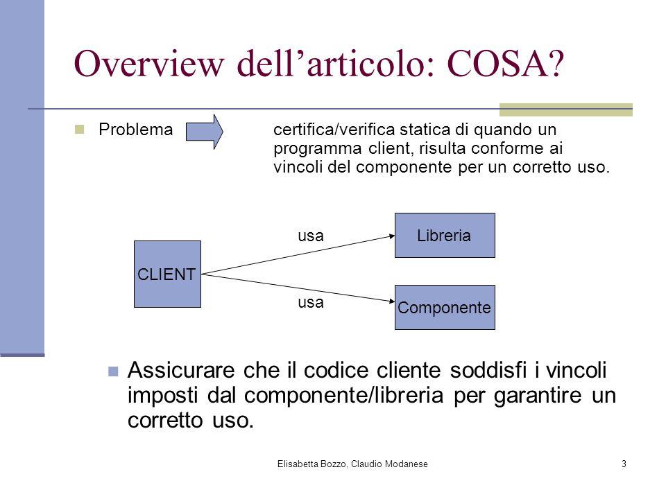 Elisabetta Bozzo, Claudio Modanese3 Overview dellarticolo: COSA? Problema certifica/verifica statica di quando un programma client, risulta conforme a