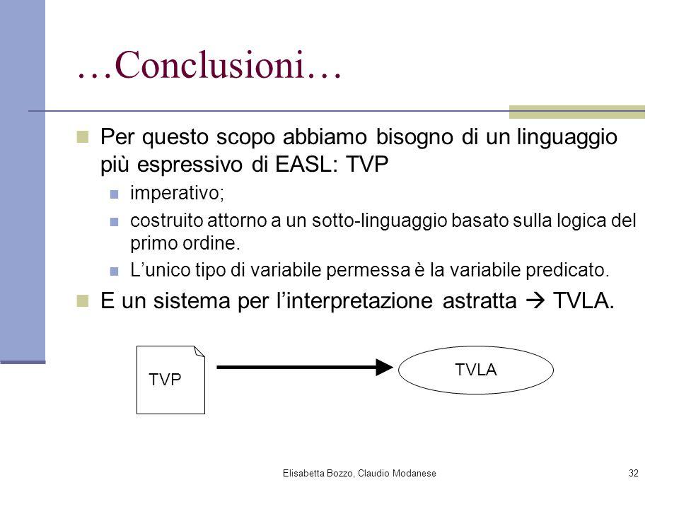 Elisabetta Bozzo, Claudio Modanese32 …Conclusioni… Per questo scopo abbiamo bisogno di un linguaggio più espressivo di EASL: TVP imperativo; costruito attorno a un sotto-linguaggio basato sulla logica del primo ordine.