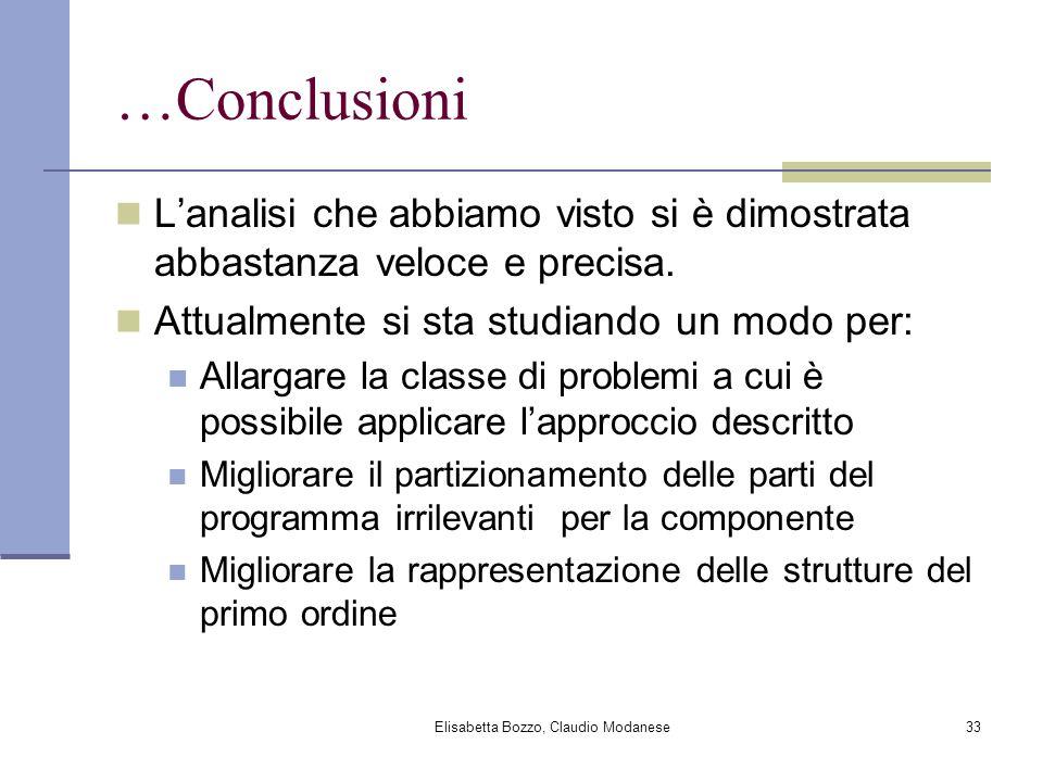 Elisabetta Bozzo, Claudio Modanese33 …Conclusioni Lanalisi che abbiamo visto si è dimostrata abbastanza veloce e precisa.