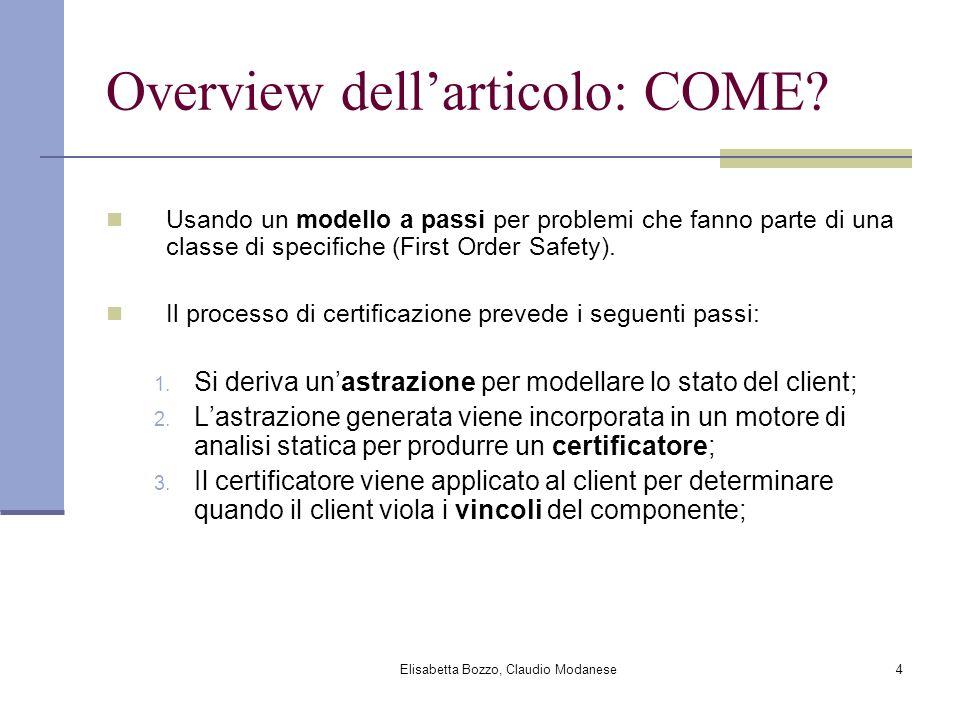 Elisabetta Bozzo, Claudio Modanese4 Overview dellarticolo: COME? Usando un modello a passi per problemi che fanno parte di una classe di specifiche (F