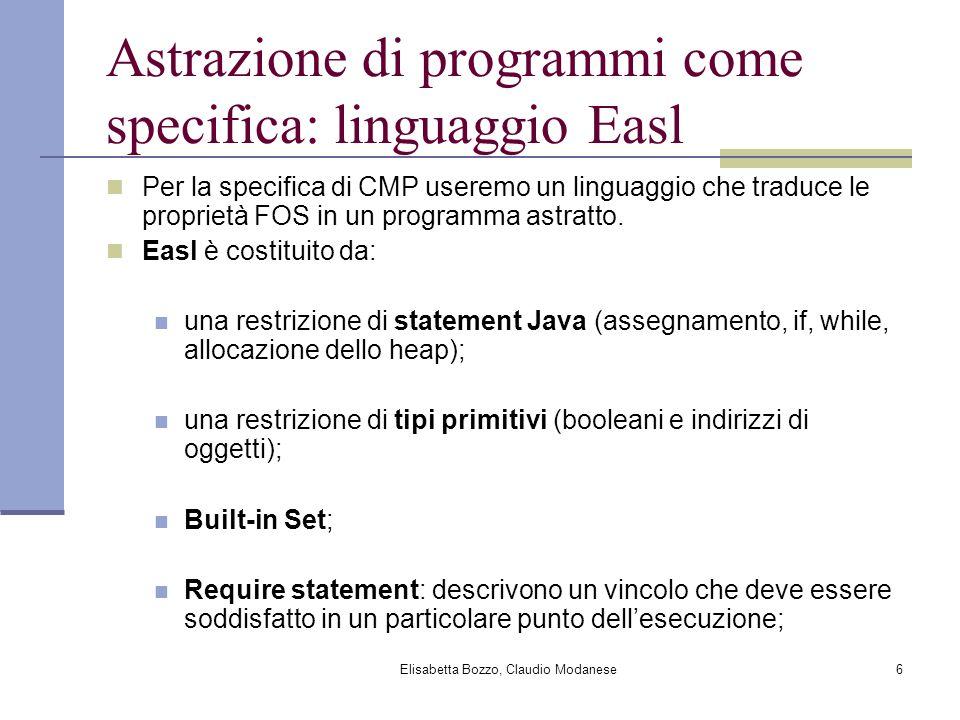 Elisabetta Bozzo, Claudio Modanese7 La specifica di CMP class Version { /* represents distinct versions of a Set */ } class Set { Version ver; Set() { ver = new Version(); } boolean add(Object o) { ver = new Version(); } Iterator iterator() { return new Iterator(this); } } class Iterator { Set set; Version defVer; Iterator (Set s){ defVer = s.ver; set = s; } void remove() { requires (defVer == set.ver); set.ver = new Version(); defVer = set.ver; } Object next() { requires (defVer == set.ver); } } Ogni modifica della collezione crea una versione distinta della collezione identificata dalloggetto versione; Ogni iteratore registra quale versione di quale collezione è associato ad esso; Ad ogni uso dell iteratore viene controllata la correttezza comparando la versione della collezione definita dalliteratore con la versione della collezione presa in considerazione.