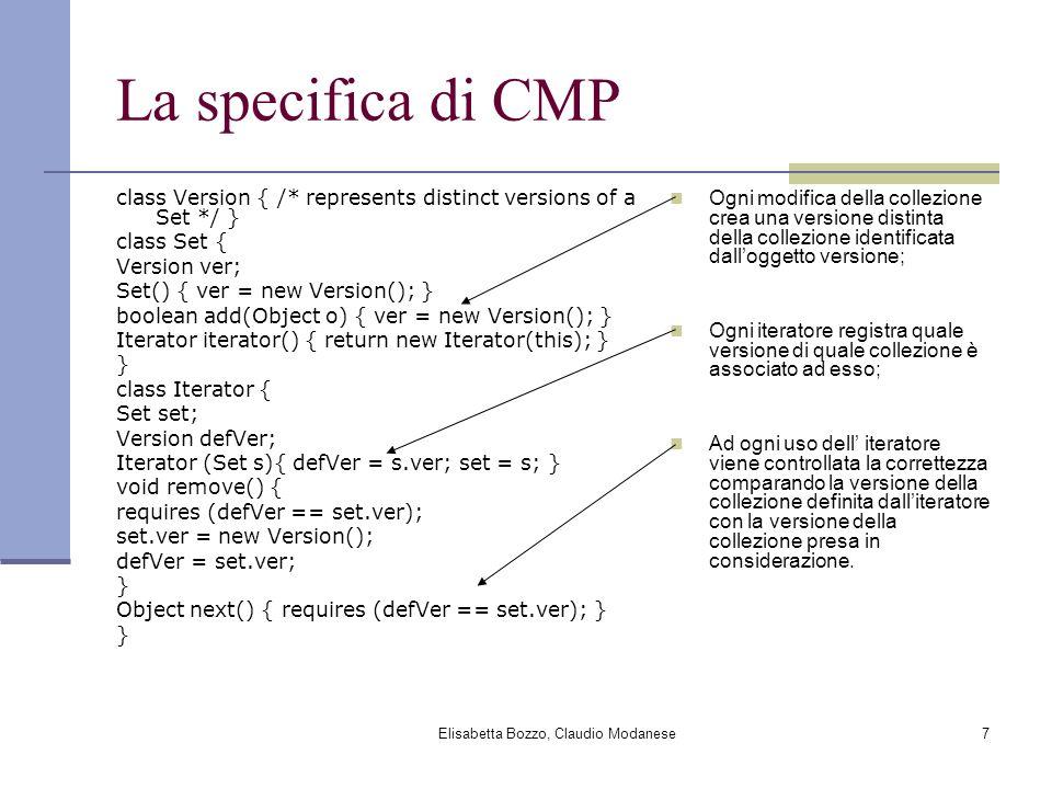 Elisabetta Bozzo, Claudio Modanese8 Esempio /* 0 */ Set v = new Set(); /* 1 */ Iterator i1 = v.iterator(); /* 2 */ Iterator i2 = v.iterator(); /* 3 */ Iterator i3 = i1; /* 4 */ i1.next(); // The following update via i1 invalidates the // iterator referred to by i2.