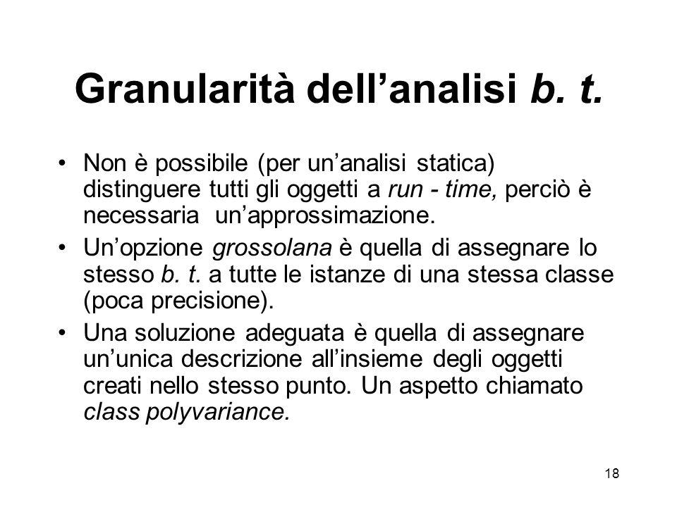 18 Granularità dellanalisi b. t.