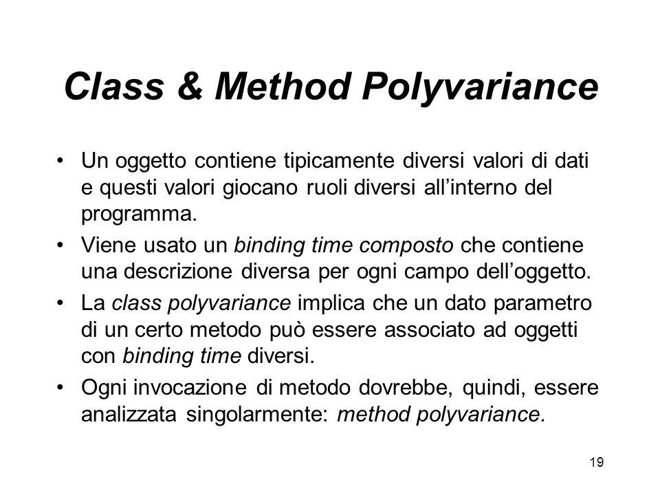 19 Class & Method Polyvariance Un oggetto contiene tipicamente diversi valori di dati e questi valori giocano ruoli diversi allinterno del programma.
