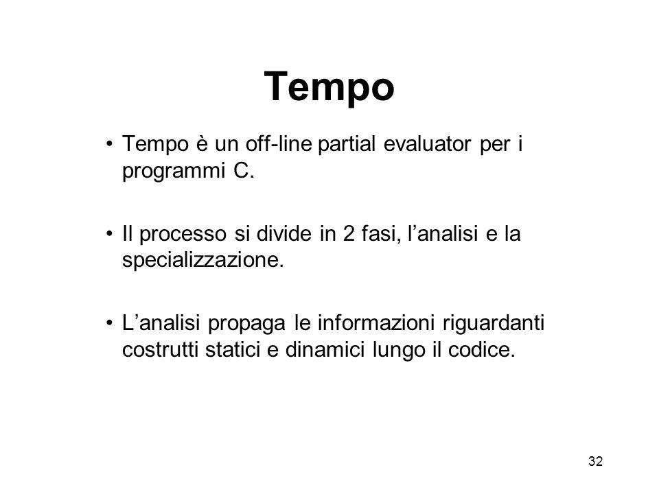 32 Tempo Tempo è un off-line partial evaluator per i programmi C.