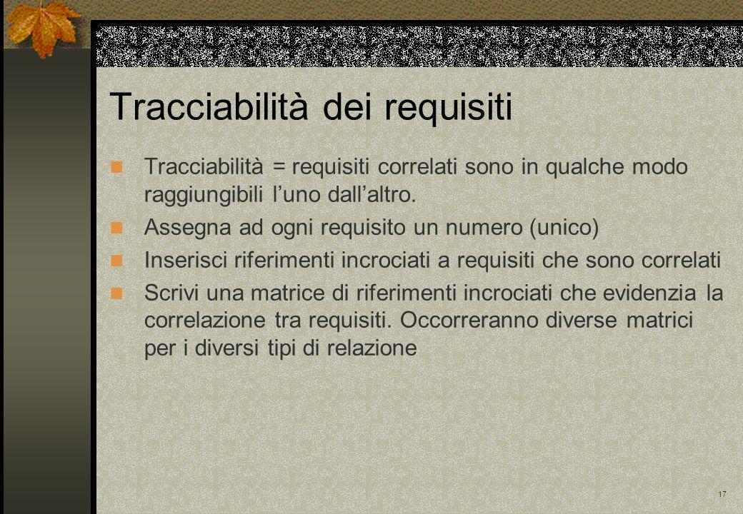 17 Tracciabilità dei requisiti Tracciabilità = requisiti correlati sono in qualche modo raggiungibili luno dallaltro.