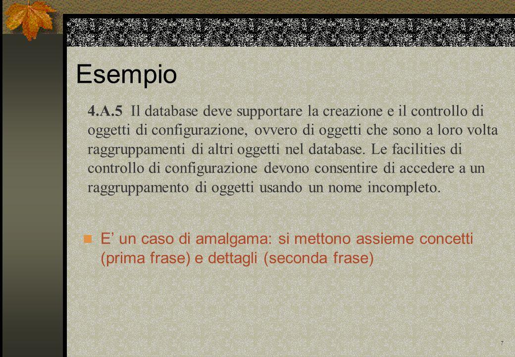 7 Esempio 4.A.5 Il database deve supportare la creazione e il controllo di oggetti di configurazione, ovvero di oggetti che sono a loro volta raggruppamenti di altri oggetti nel database.