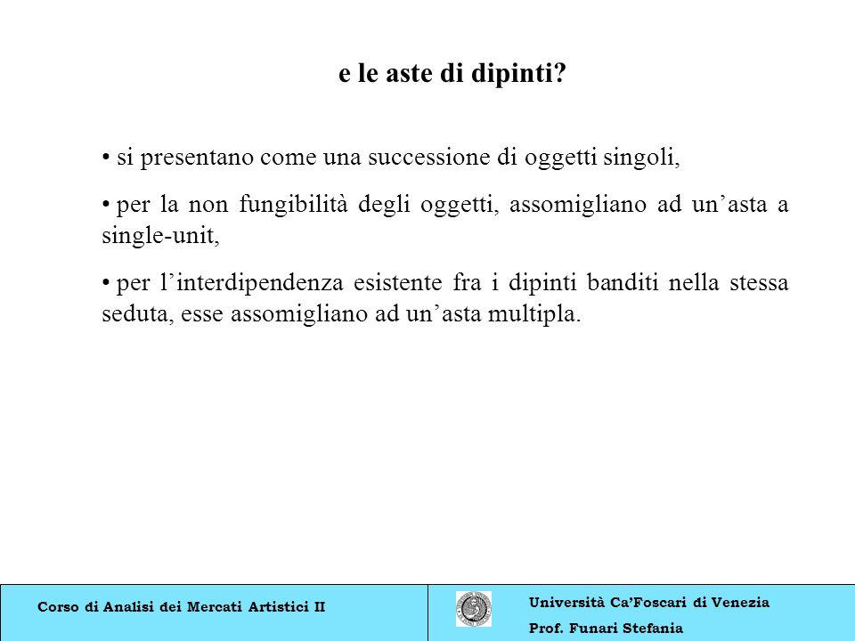 Corso di Analisi dei Mercati Artistici II Università CaFoscari di Venezia Prof. Funari Stefania si presentano come una successione di oggetti singoli,