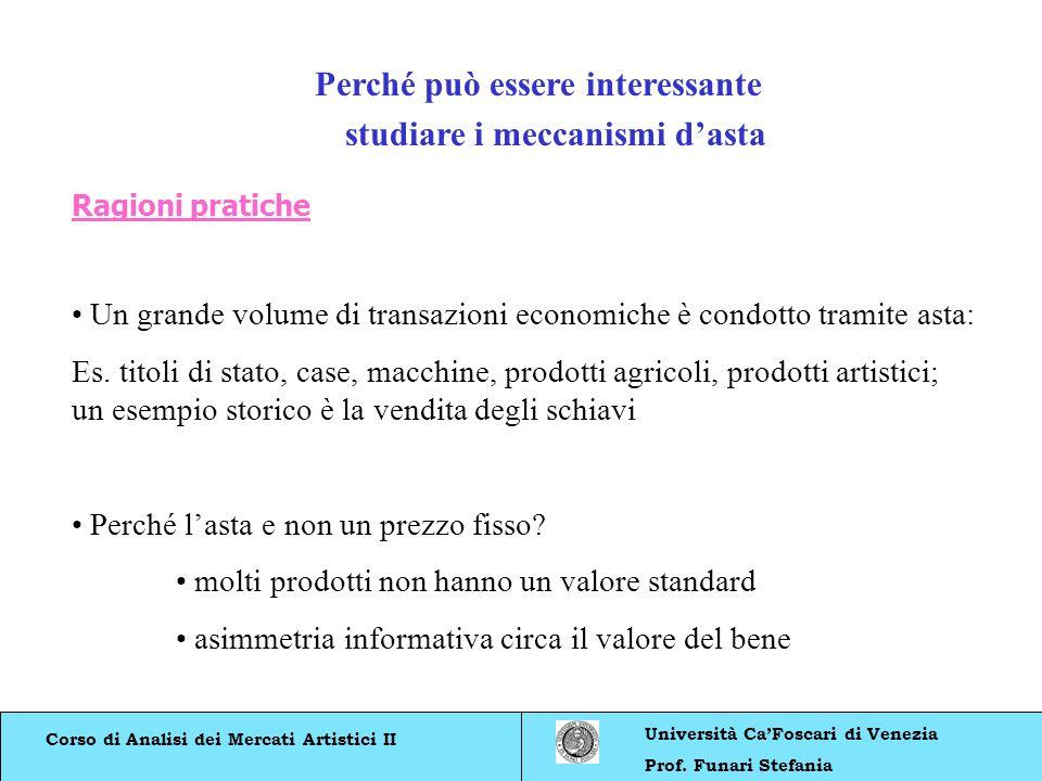 Corso di Analisi dei Mercati Artistici II Università CaFoscari di Venezia Prof. Funari Stefania Perché può essere interessante studiare i meccanismi d