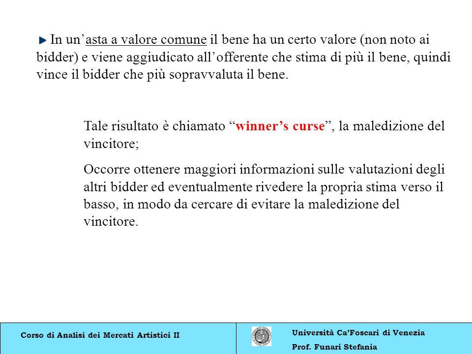 Corso di Analisi dei Mercati Artistici II Università CaFoscari di Venezia Prof. Funari Stefania In unasta a valore comune il bene ha un certo valore (