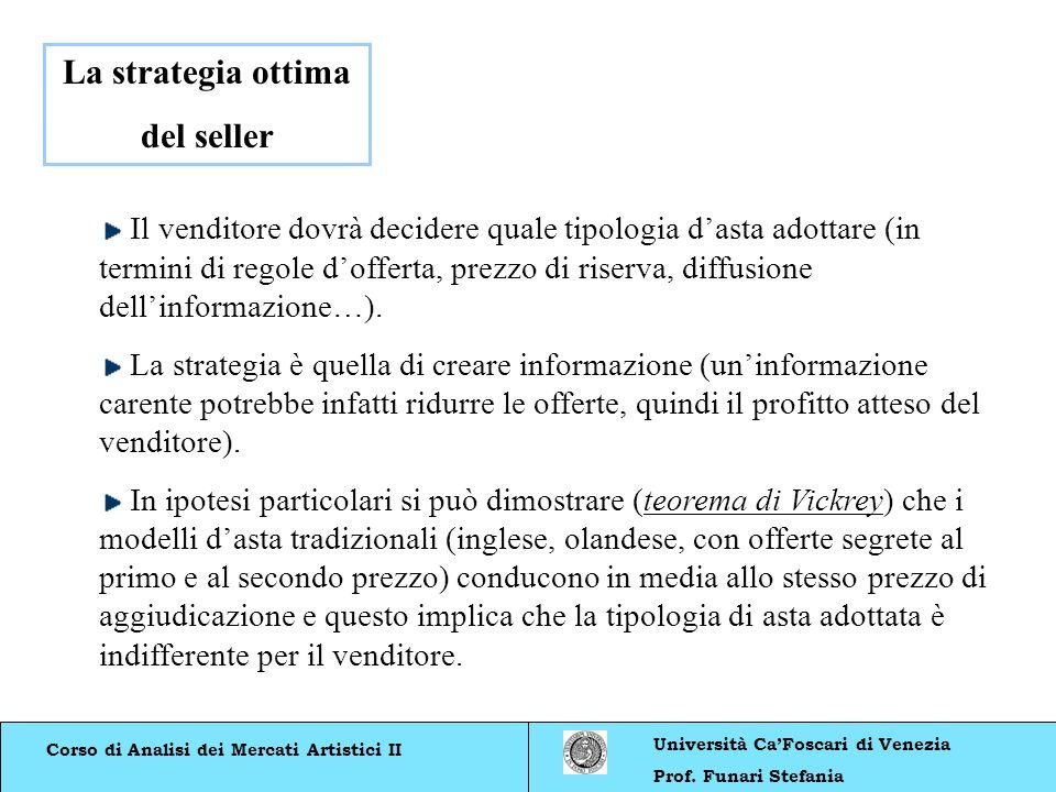 Corso di Analisi dei Mercati Artistici II Università CaFoscari di Venezia Prof. Funari Stefania La strategia ottima del seller Il venditore dovrà deci