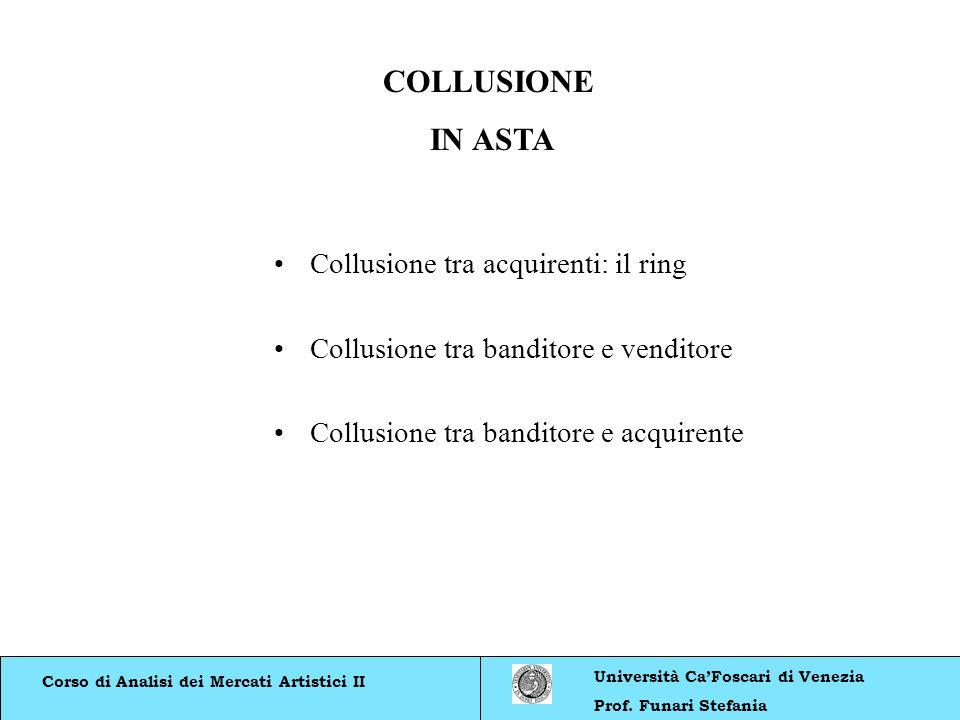 Corso di Analisi dei Mercati Artistici II Università CaFoscari di Venezia Prof. Funari Stefania COLLUSIONE IN ASTA Collusione tra acquirenti: il ring